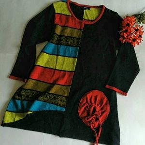 Kaktus Color Block Knit Cardigan Sz L